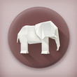 Origami elephant long shadow vector icon
