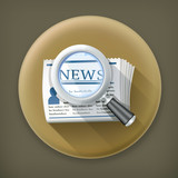 News Search, long shadow vector icon