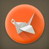 Origami crane long shadow vector icon