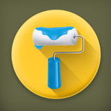 Paint roller long shadow vector icon