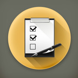 Pen and check boxes long shadow vector icon