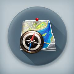 Navigation map long shadow vector icon