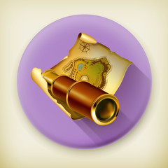 Old map and spyglass, long shadow vector icon