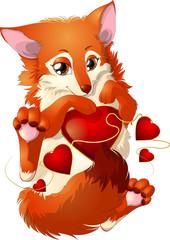 fox and hearts