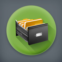 Open card catalog, long shadow vector icon