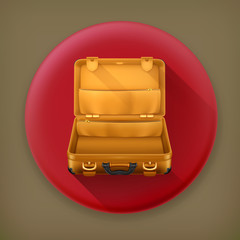 Open Suitcase long shadow vector icon