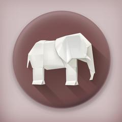 Origami elephant long shadow vector icon