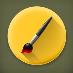 Paintbrush long shadow vector icon