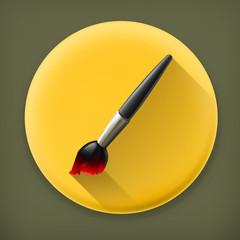 Paintbrush long shadow vector icon
