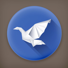 Paper Dove, long shadow vector icon