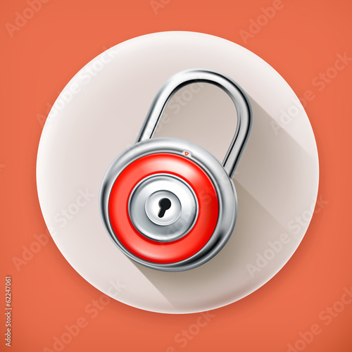 Padlock, long shadow vector icon