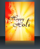 Beautiful grunge colorful template of holi brochure festival vec