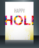 Indian festival brochure card colorful holi template illustratio