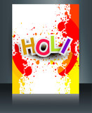 Happy Holi Brochure template reflection grunge colorful card cel