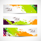 Banner and header set grunge holi with colorful colours splash.