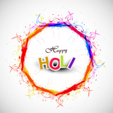 Beautiful grunge circle colorful Indian festival Happy Holi back