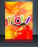 Beautiful indian festival brochure colorful texture holi card te