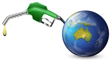 A petrol pump and a globe