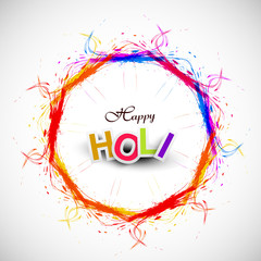 Beautiful grunge circle colorful Indian festival Happy Holi back