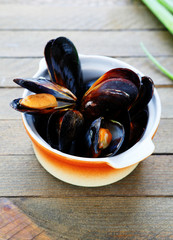 mussels cooked in a saucepan