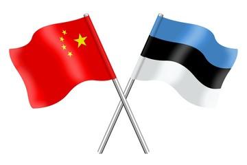 Flags: China and Estonia