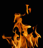 orange fire on black background illustration