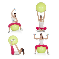 Sequence beautiful woman practicing sport sitting on a pilates b