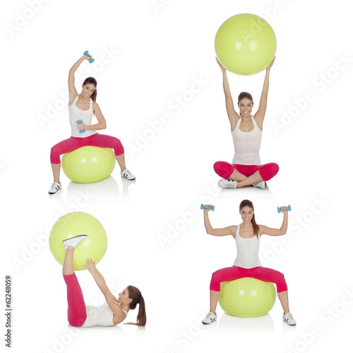 canvas print picture Sequence beautiful woman practicing sport sitting on a pilates b