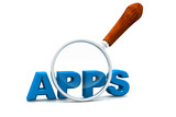 Apps and magnifying glass. Magnifying glass showing apps word
