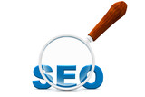 seo and magnifying glass.