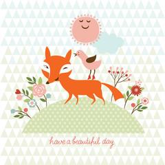 cute  fox and  bird