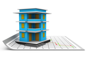 3d building and plan .