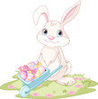 Easter Bunny with wheelbarrow