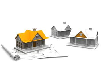 3d architecture house blue print plan..