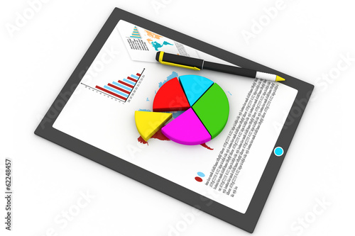 Tablet computer and financial charts.