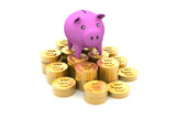 Piggy bank with golden coins..