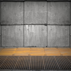 Abstract empty industrial interior with concrete wall and rusted