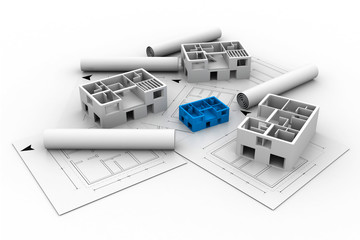 3d architecture house blue print plan.