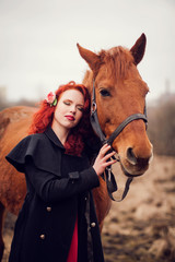portrait beautiful redhead woman next horse
