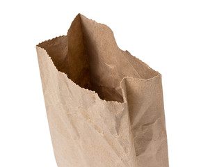 Brown Paper Bag Opened and Isolated on a White Background