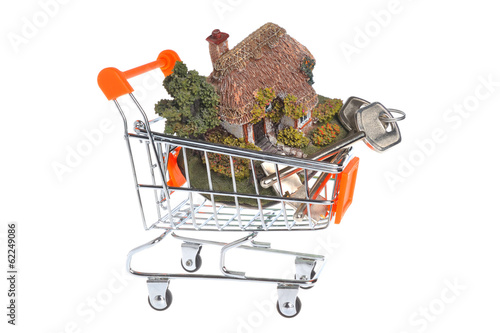 Model of house with keys in the shopping cart isolated on white