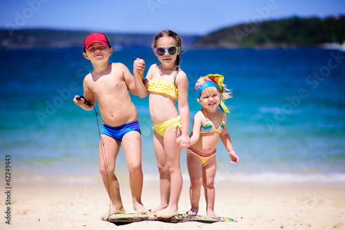 group of kids on a beach