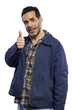blue collar worker giving showing a thumbs up gesture