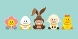 Bunny & Friends Eggs Retro