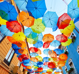 Street decorated with colored umbrellas.Agueda, Portugal