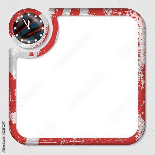 red box for inserting text with pattern and clock