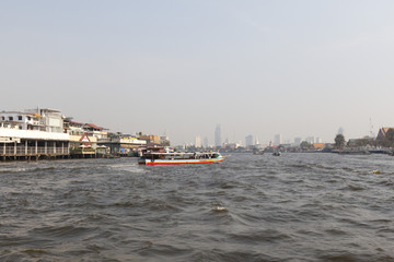 boat in Chao Phraya river in Bangkok