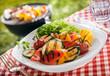 Serving of succulent roasted vegetarian, fresh vegetables