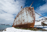 Abandoned whaling ship in antarctica.