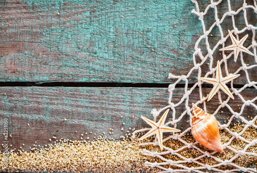 Rustic marine background with copyspace